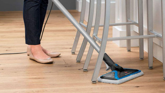 steam mopping wood floors